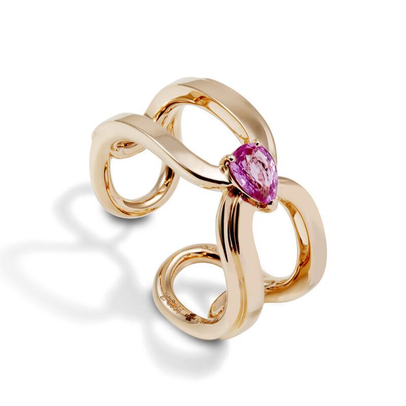 Gismondi1754 clip ring rose gold pink sapphire